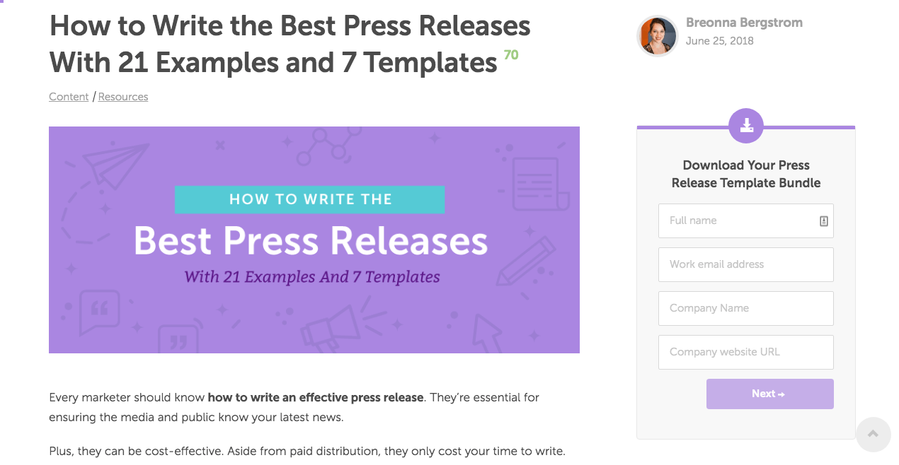 "Screen shot of ""How to Write the Best Press Releasaes with 21 Examples and 7 Templates"" blog post"