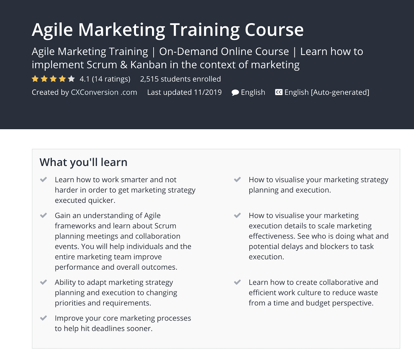 Udemy Agile Marketing Training Course