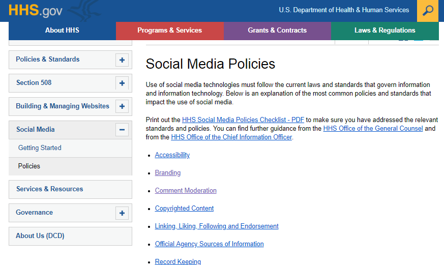 Social Media Policies from the U.S. Dept of Health and Human Services