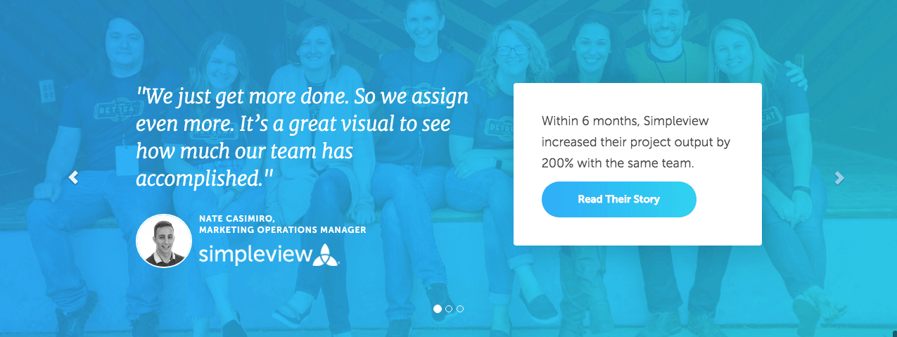 A quote from a satisfied customer of CoSchedule on the homepage of the website