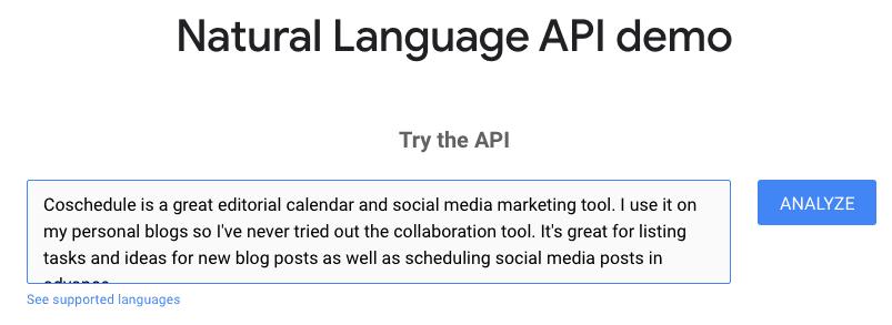 A piece of copied test into Google's NLP API