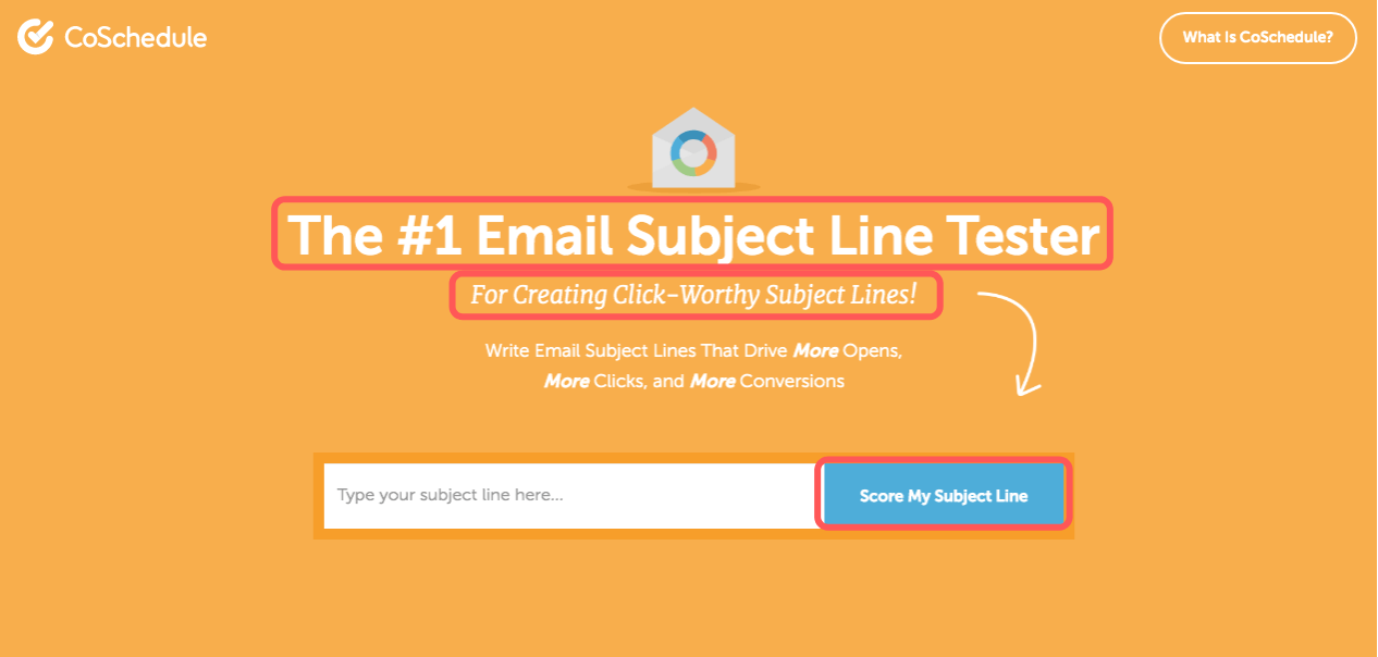 Homepage for the Email Subject Line Tester from CoSchedule