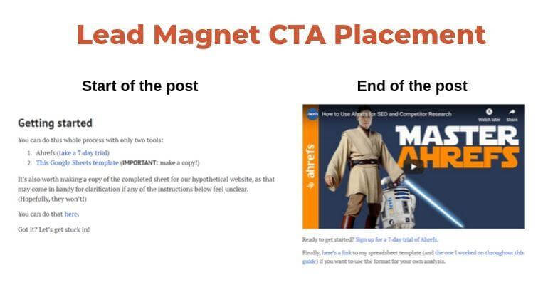Lead magnet CTA placement example