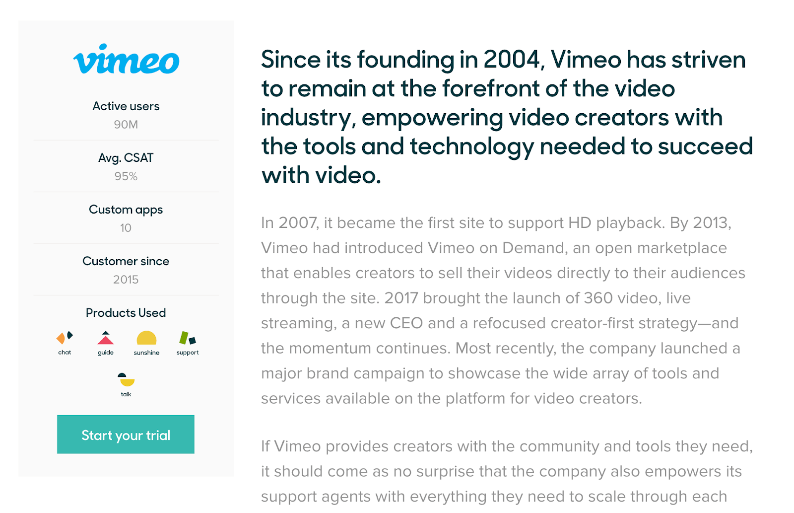 An example of a Vimeo customer success story with Zendesk