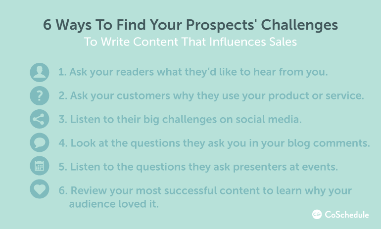 6 ways to find your prospects' challenges and connect your content to sales
