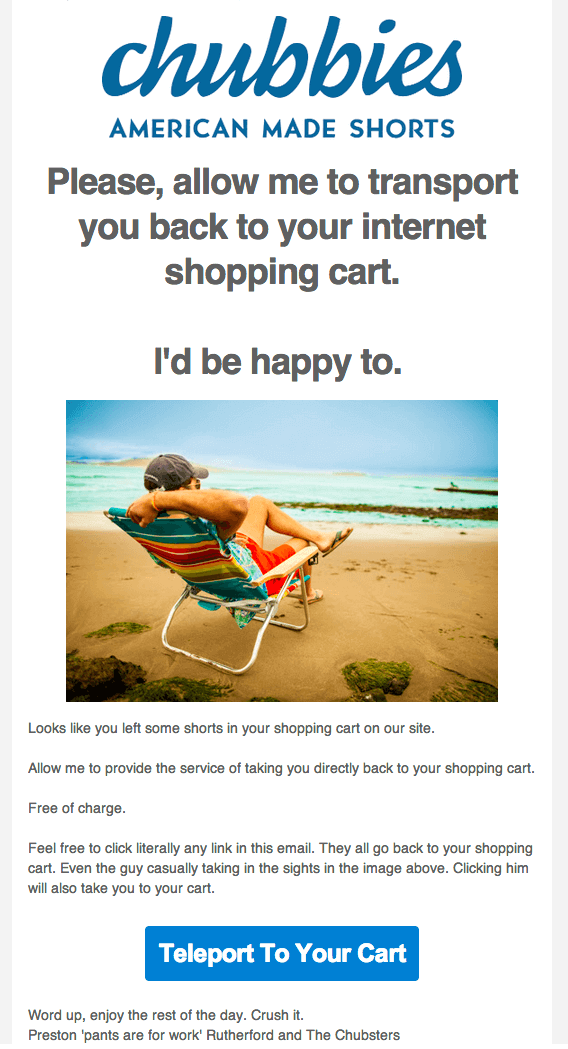 Chubbies Abandoned Cart Email Example