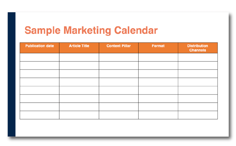 Blank chart of a sample marketing calendar