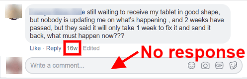 Screenshot of customer comment on Facebook and no response from company