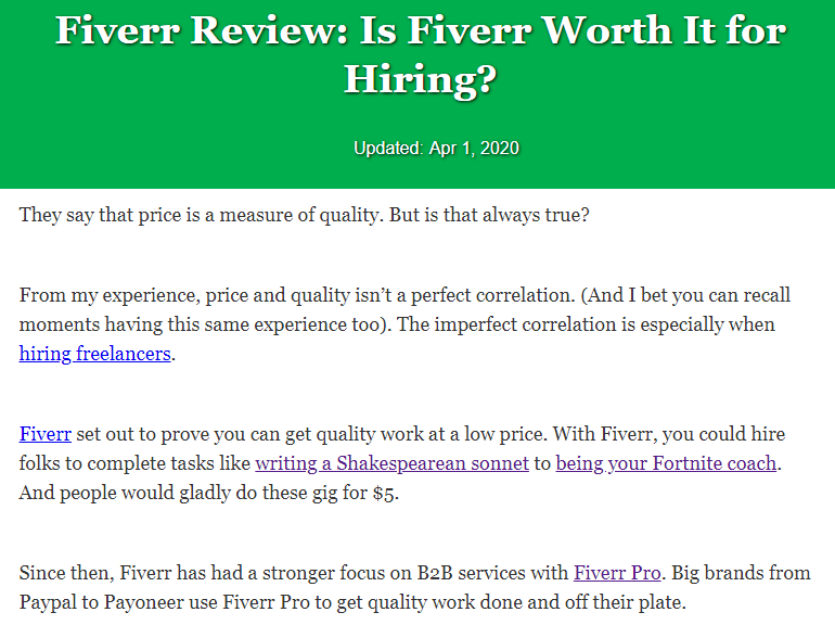 Article about Fiverr Review and whether it's worth hiring