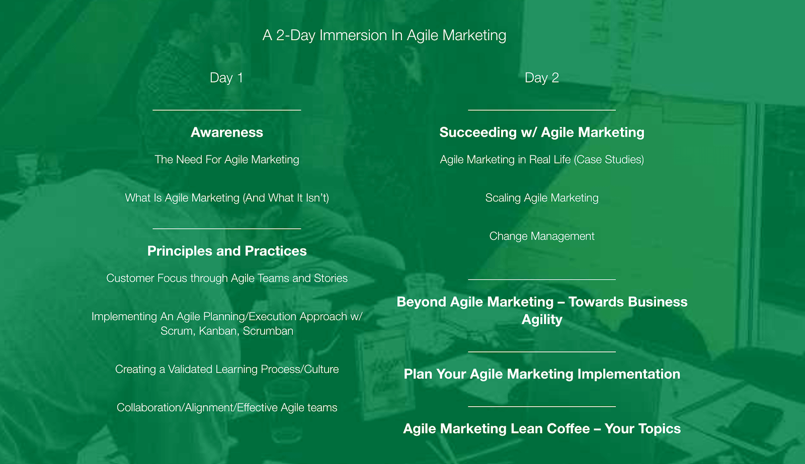 AgileSparks: Lean/Agile Marketing Workshop Agenda