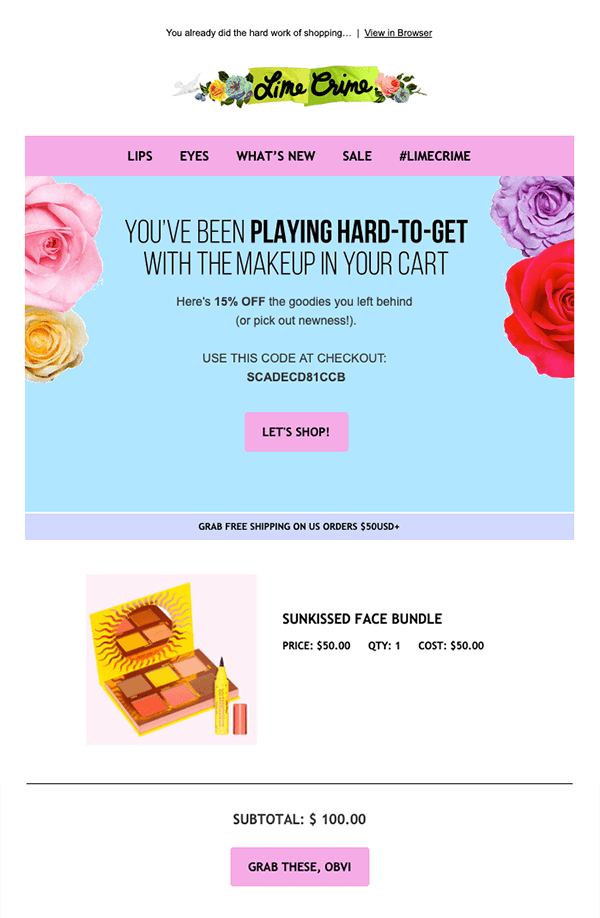 Email from Lime Crime