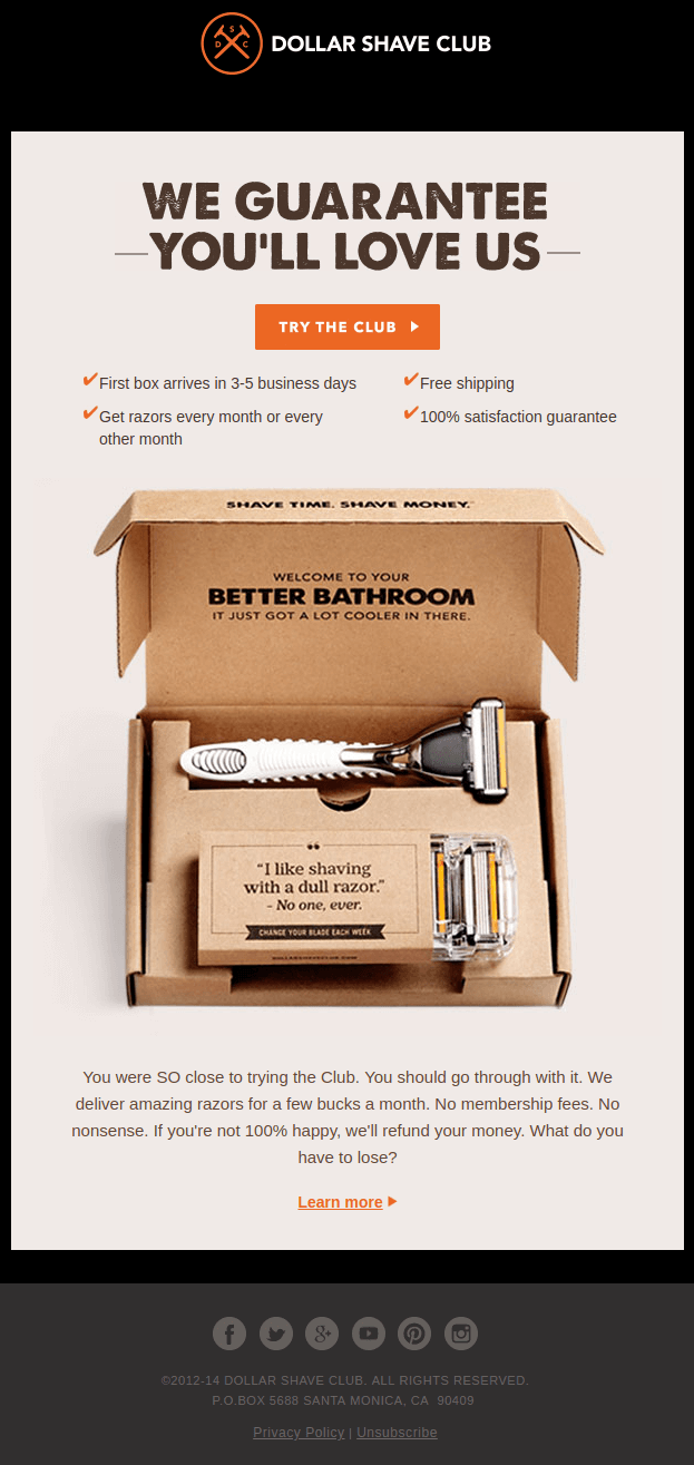 Dollar Shave Club Abandoned Cart Email