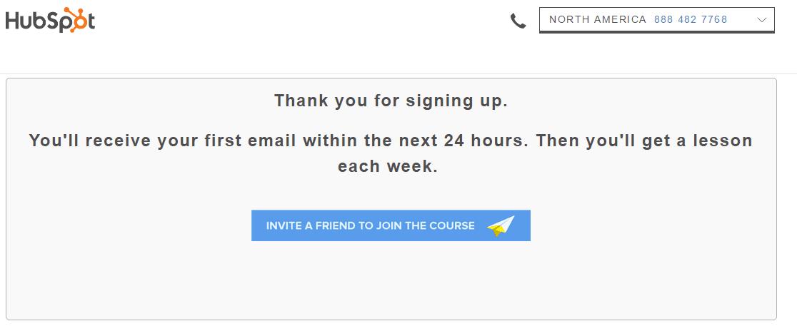 HubSpot Invite a Friend Example