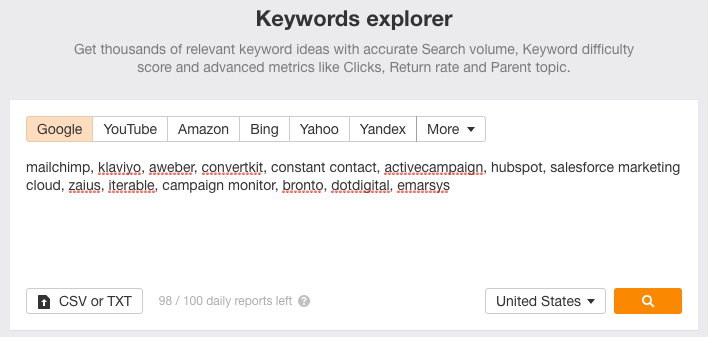 The keyword explorer showing comparison terms from Drip