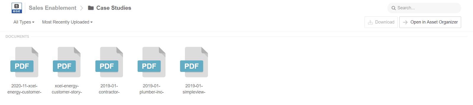 A single internal team folder in asset organizer with PDF files
