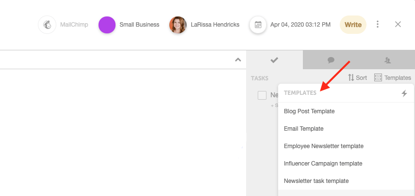 Create pre-set task templates in CoSchedule