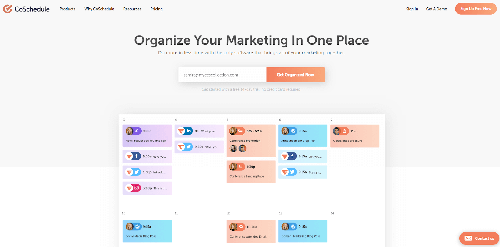 "CoSchedule homepage screenshot ""Organize Your Marketing In One Place"""