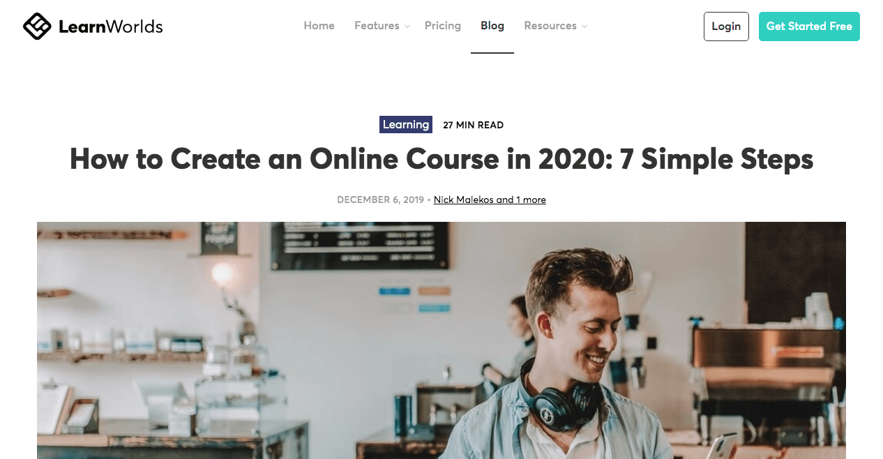 A blog post from LearnWorlds about how to create an online course