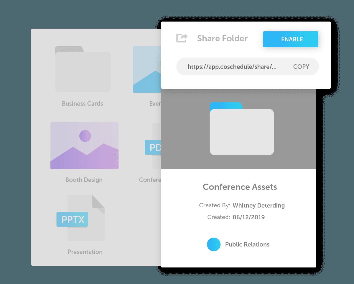 Share folder pop up menu (ex. conference assets)