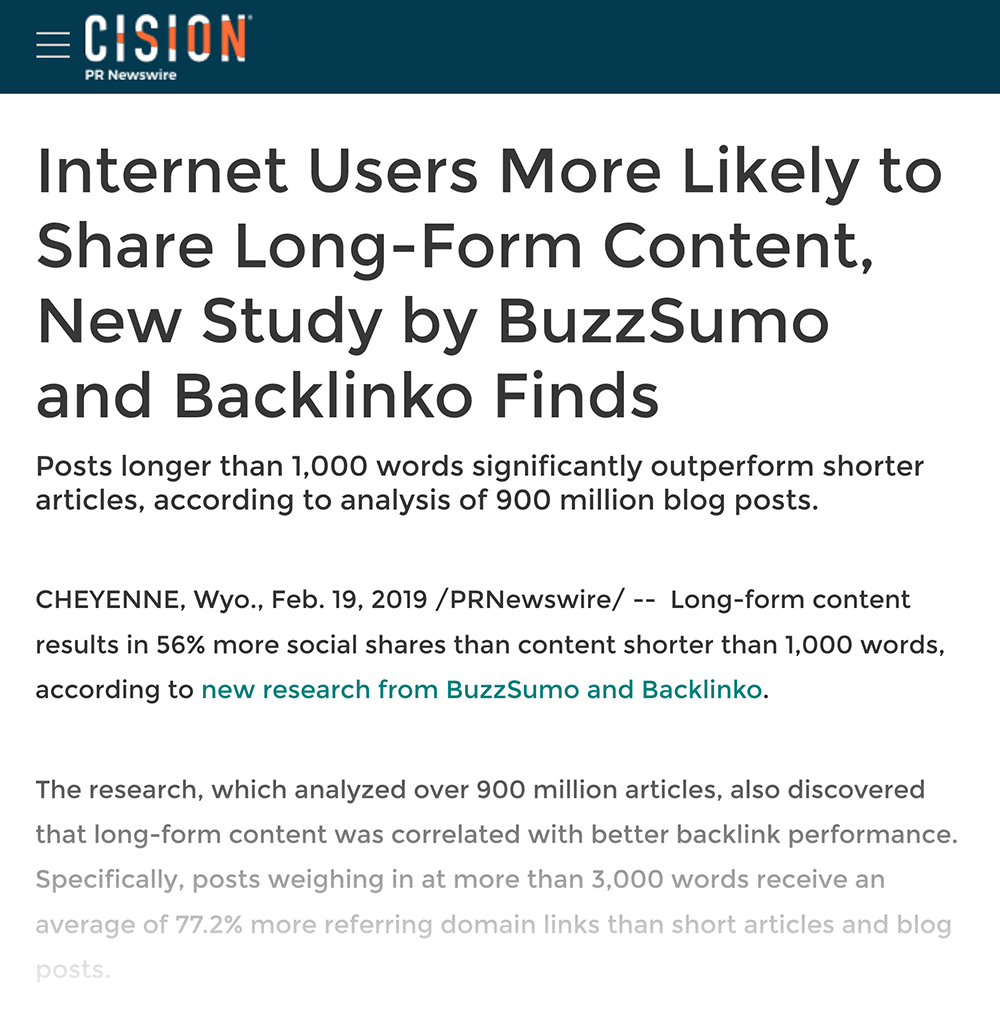 Backlinko press release example screenshot