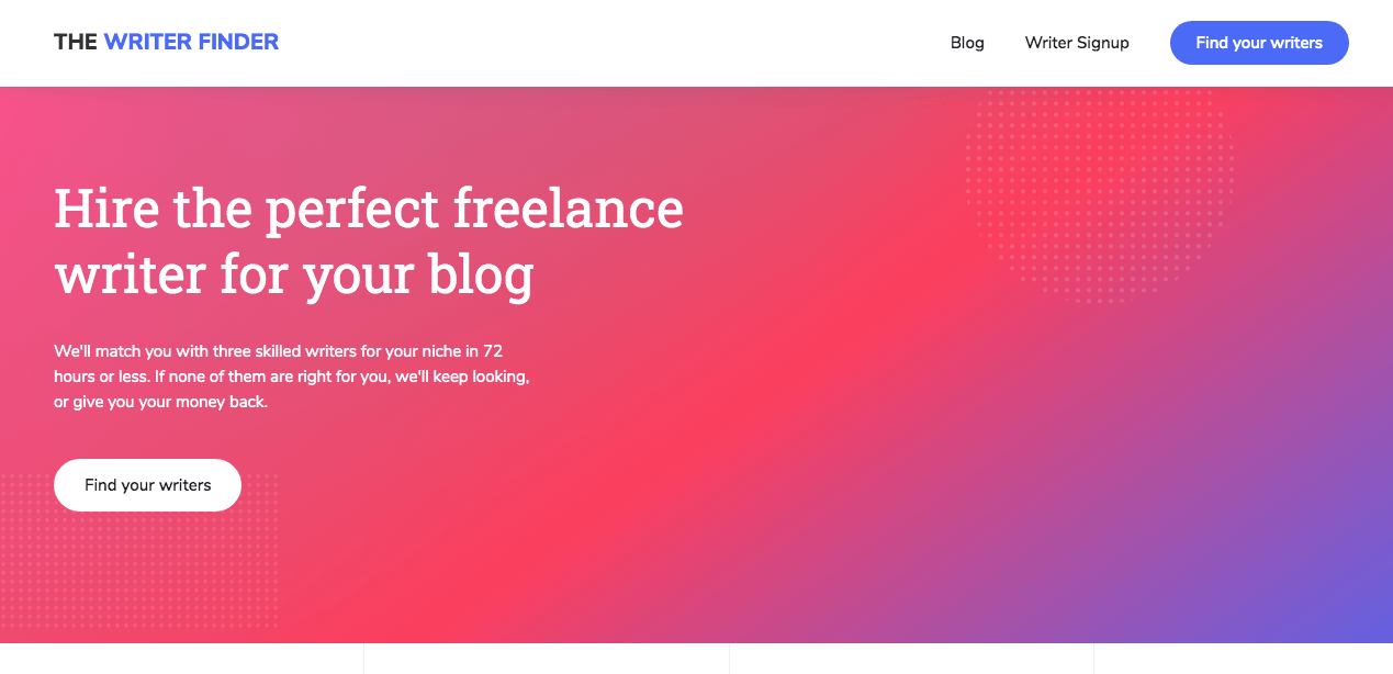 The Writer Finder homepage for finding freelance writers