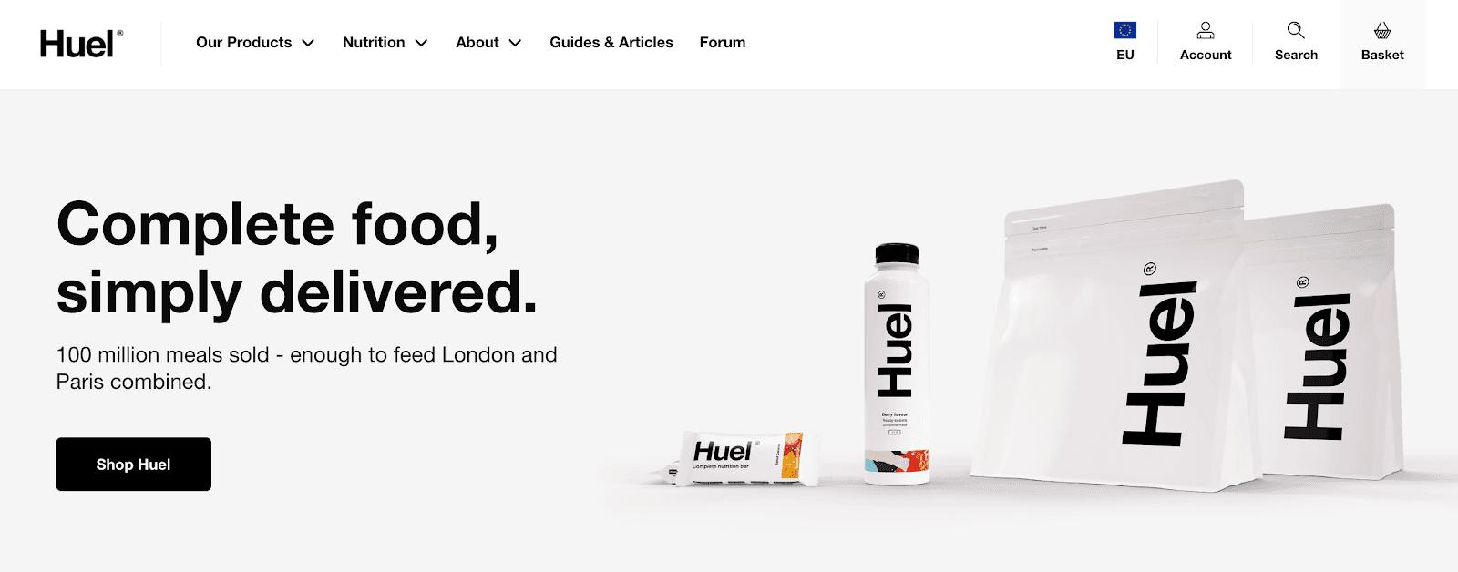 Website homepage for Huel