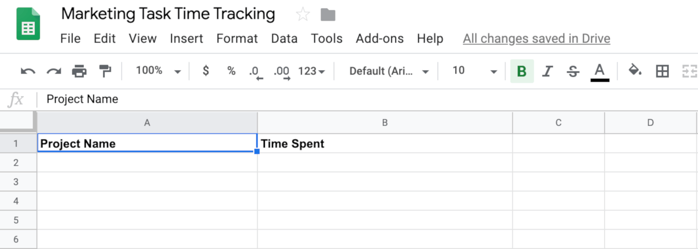 Marketing Task Time Tracking