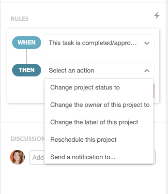Set task rules in CoSchedule
