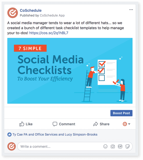 Facebook post from CoSchedule.