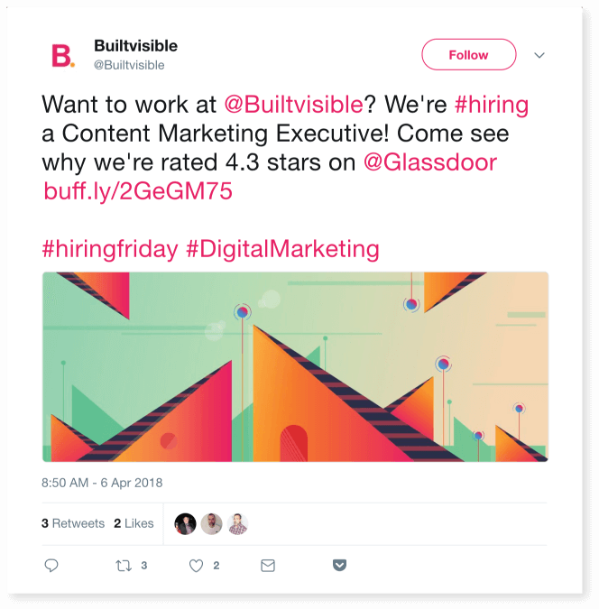 Builtvisible posting about available positions.
