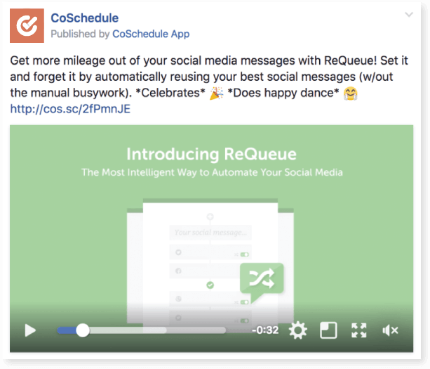 CoSchedule sharing a video about ReQueue.