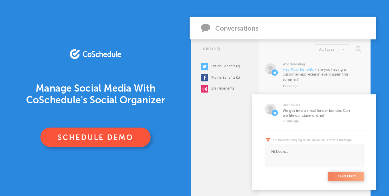 Coschedule social media organizer