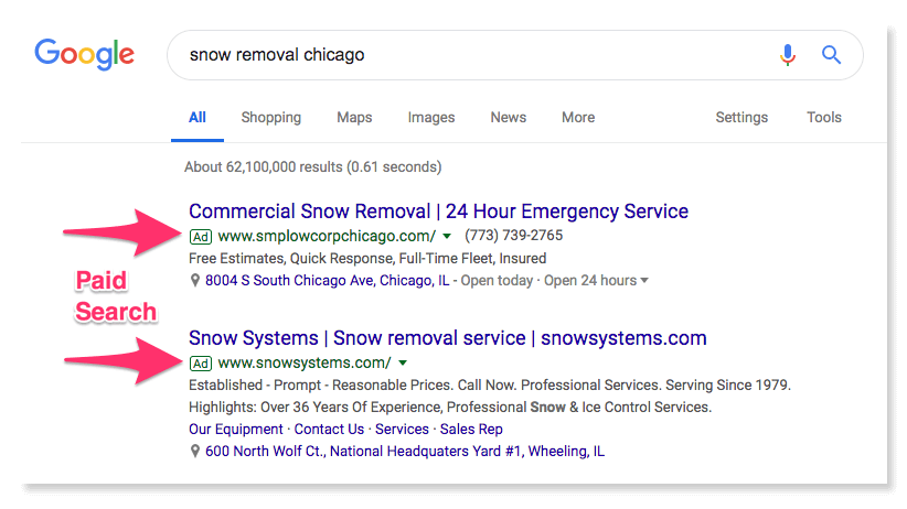 Google search for snow removal in Chicago
