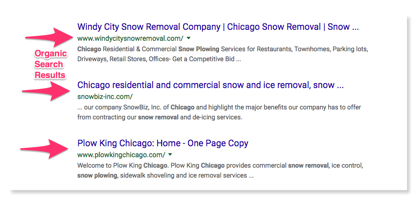 Organic search results for snow removal in Chicago