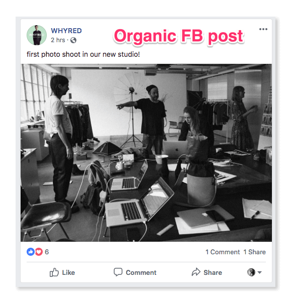 Organic Facebook post from WHYRED
