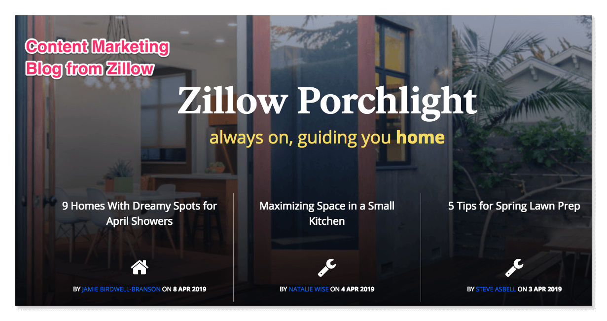 Content marketing blog from Zillow