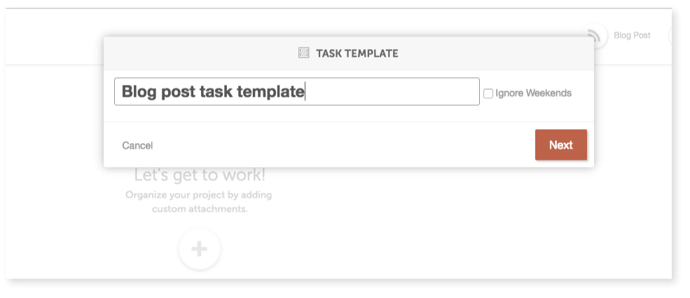 Naming your new task template.