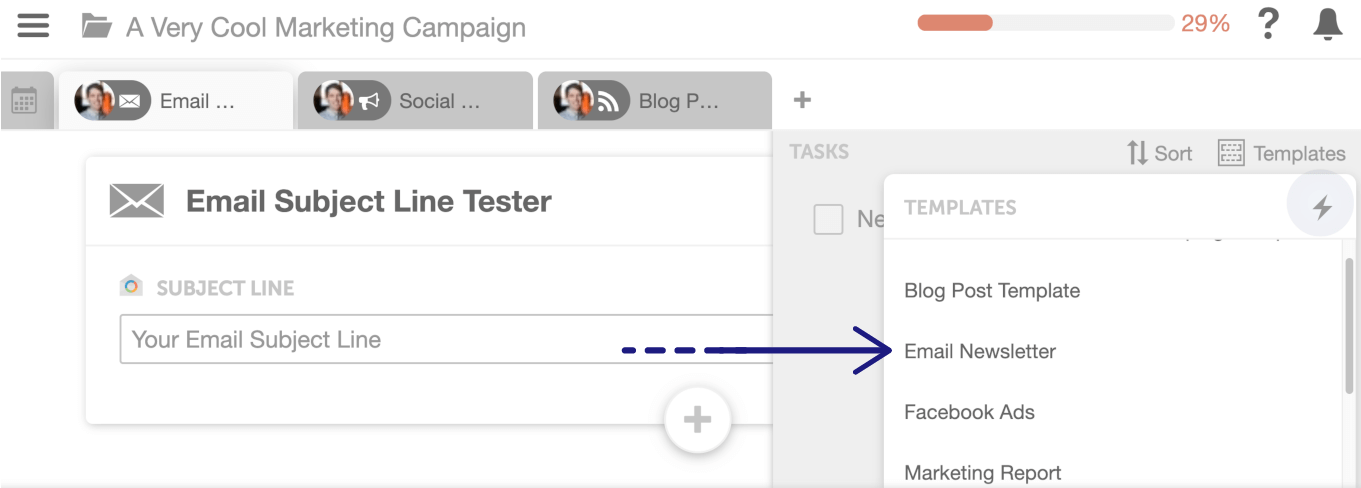 Email Newsletter task template in CoSchedule