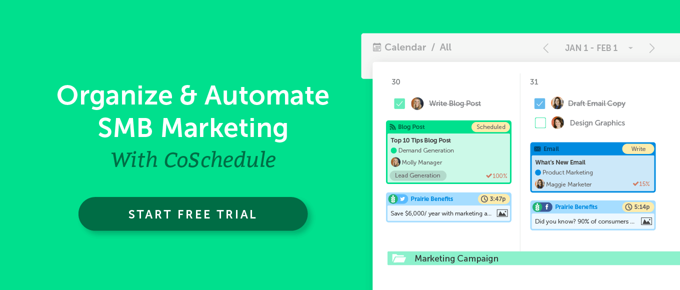 Organize and Automate SMB Marketing With CoSchedule