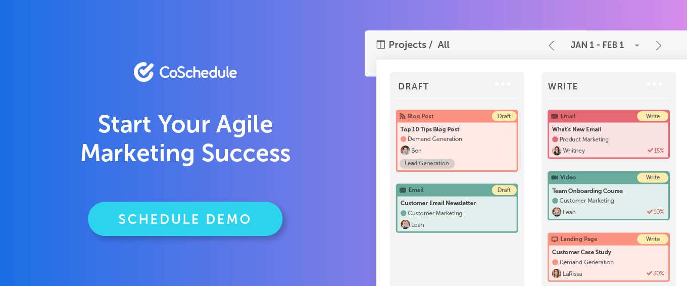 Schedule your free demo of CoSchedule agile marketing software