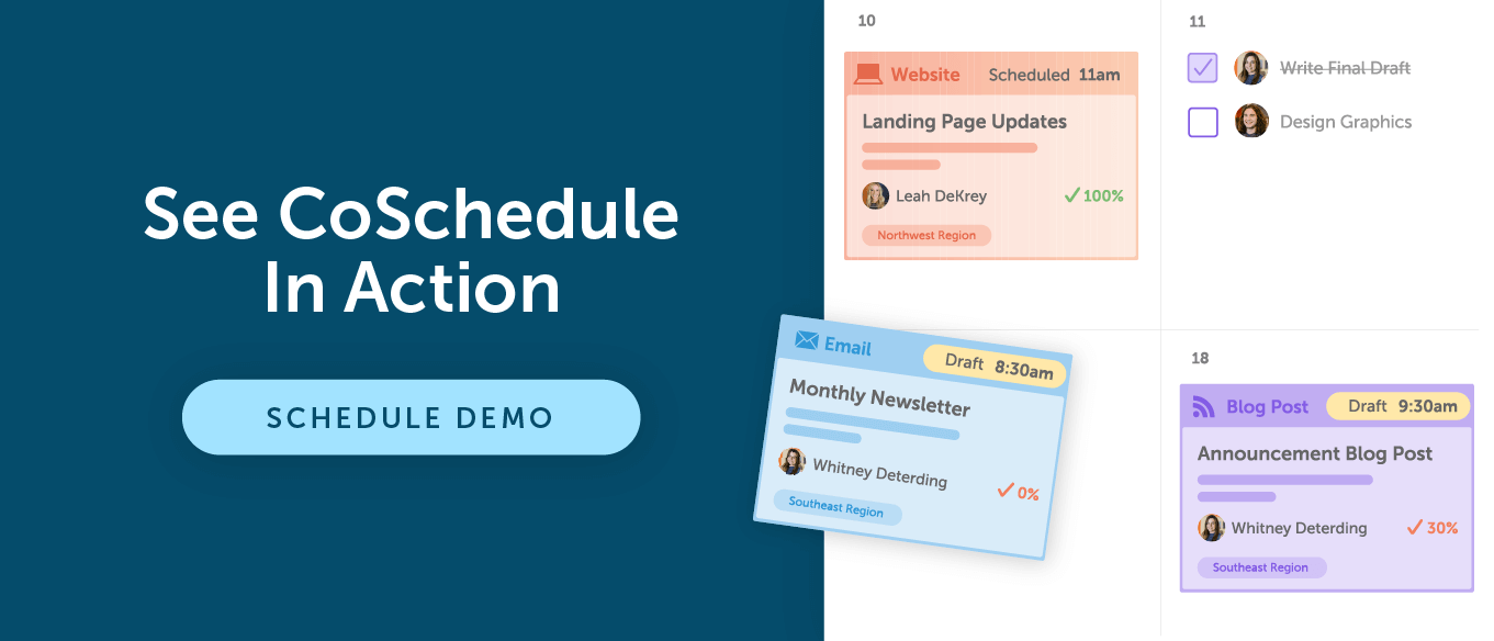 Get started with a demo of CoSchedule
