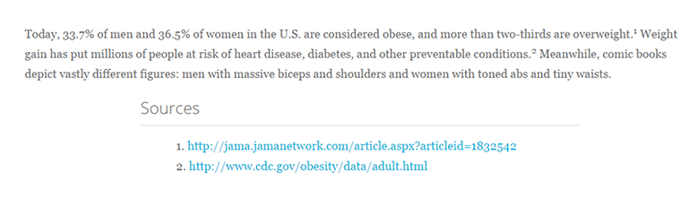 Article snippet with facts from the CDC