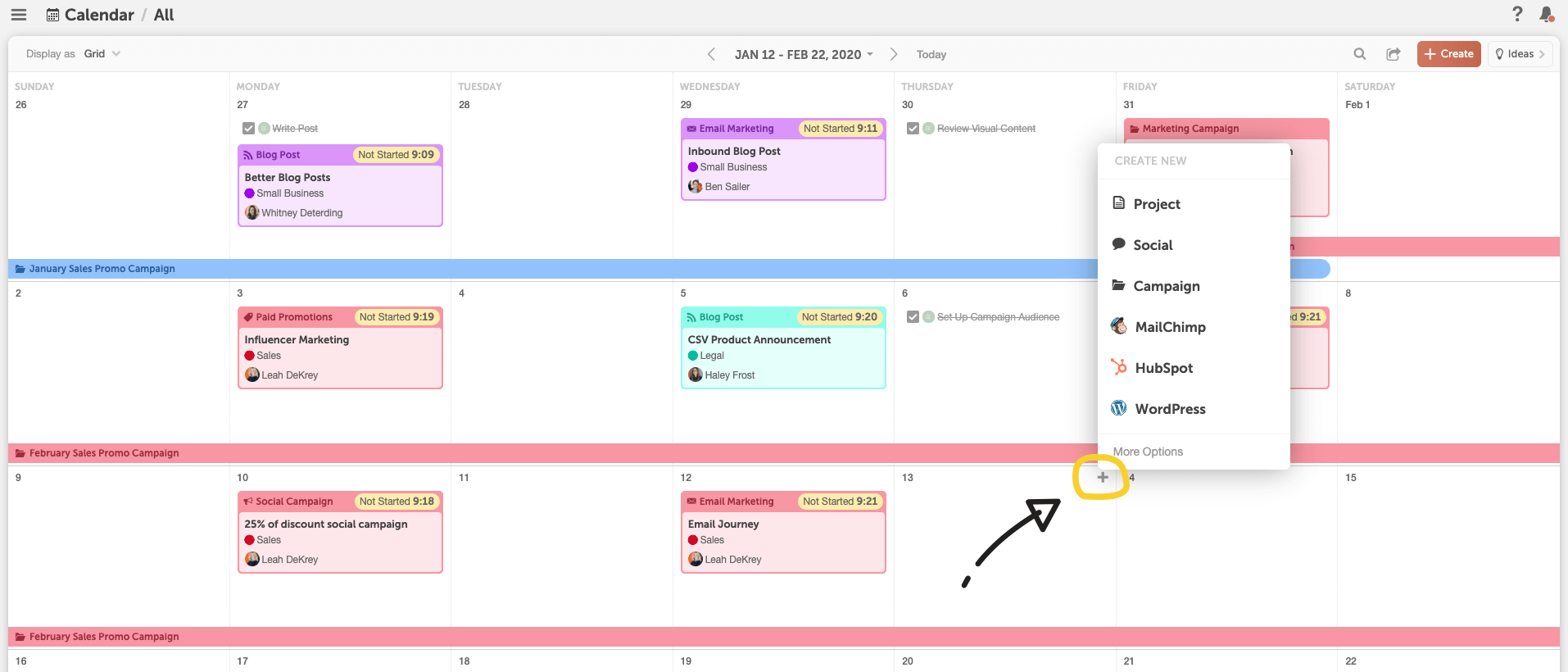 Click plus on calendar to add a project