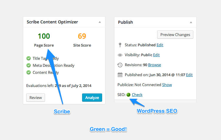 Both WordPress SEO plugin and Scribe will visually show you how your articles ranks SEO-wise.