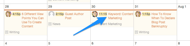Content Marketing SEO Content Calendar