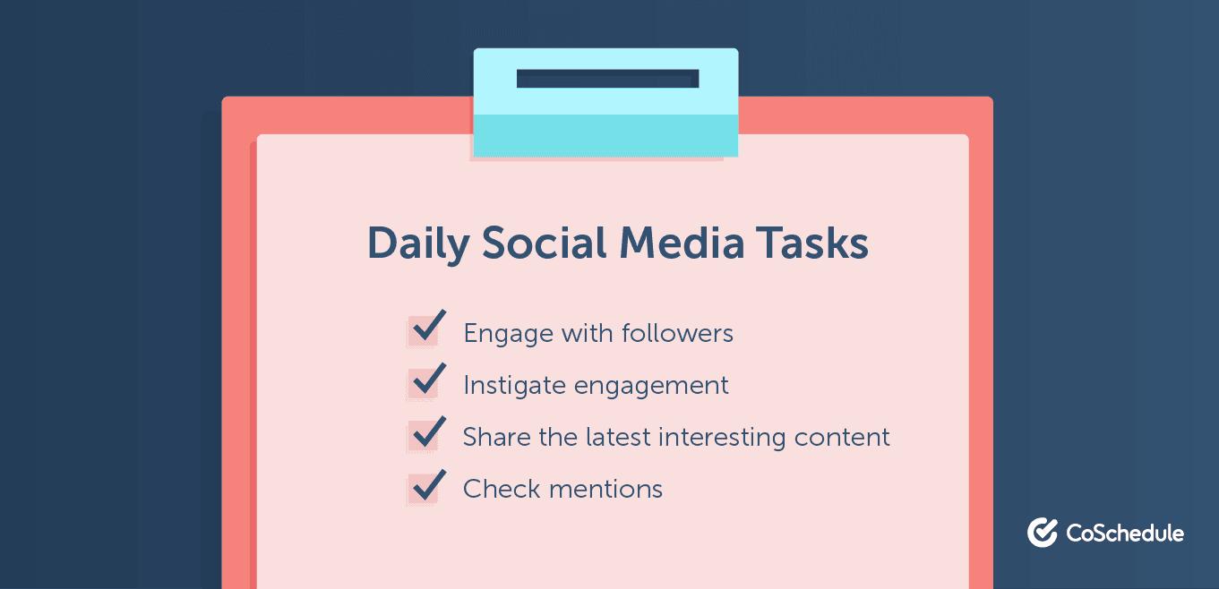 Daily social media tasks