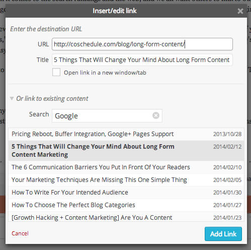How to cross link blog posts