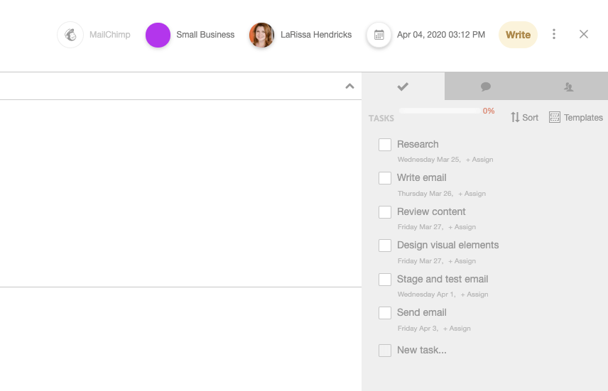 CoSchedule Email Task Template