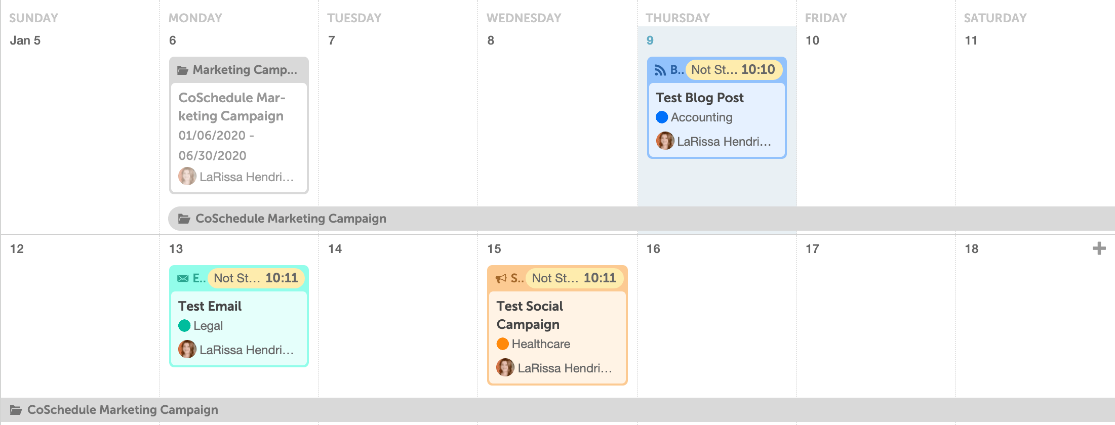 Projects On CoSchedule Calendar