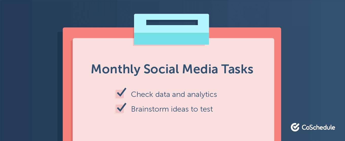 Monthly social media tasks